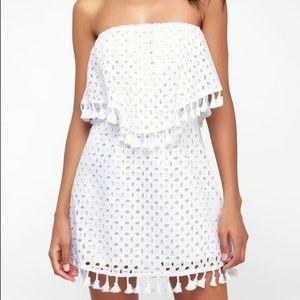 JACK BY BB DAKOTA LEIGHTON WHITE STRAPLESS DRESS